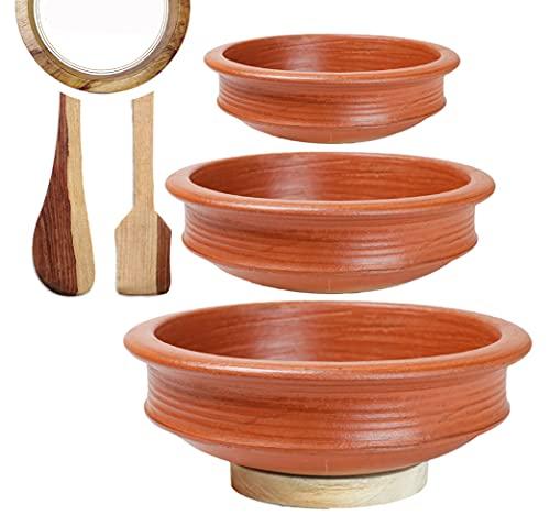 Craftsman India Online Pre-Seasoned Earthen/Clay Handi/Kadai/Pot Combo, Red, 1, 2 & 3 L