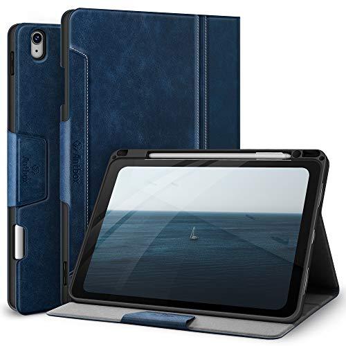 Antbox Hülle für iPad Air 4. Generation 2020 iPad 10.9 Zoll mit Stifthalter Apple Pencil Halter PU Ledertasche Schutzhülle (Blau)
