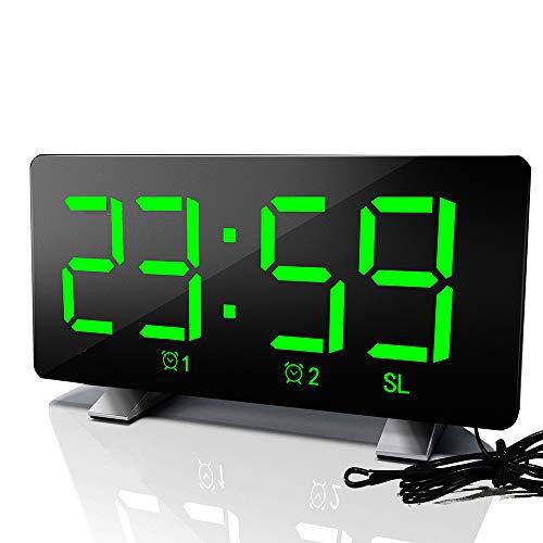 AOZBZ Reloj Despertador Digital Regulable LED Reloj Digital con Pantalla Curva, alarmas Dobles, 12 / 24H, número Grande Ultra Claro, Reloj Despertador con Radio FM con repetición (Verde)