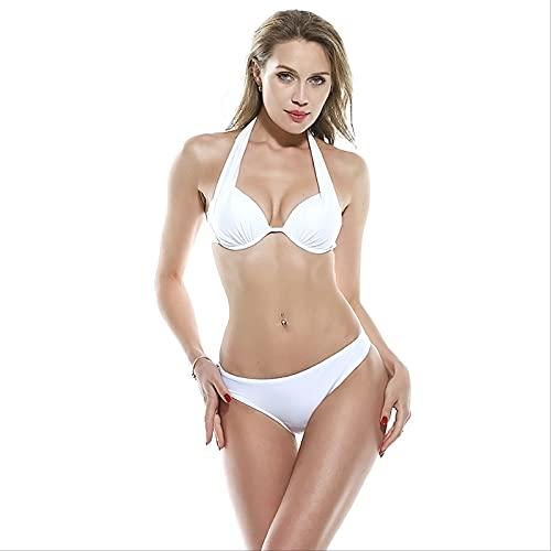 YYUKCDOG Traje De Baño De Dos Piezas con Escote En Forma De Triángulo De Cintura Baja Y Bikini Sexy De Tres Puntos Clásico Simple para Mujer S Blanco
