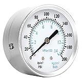 LANTRO - Medidor de presión de agua con filtro de spa para piscina de rosca 1/8 NPT - 0-14 kg/cm² 0-200psi Medidor de presión de doble escala Caja de acero inoxidable, latón para instrumento de dial d