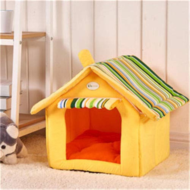 FidgetGear Foldable Pet House Bed Dog Cat Pad Soft Kennel Mat Warm Puppy Cushion Basket New Yellow S