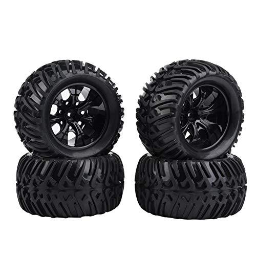Neumático de coche de 4 piezas RC, neumático de RC, superficie antideslizante de neumático de rueda RC para coche de camión RC a escala 1/10(Black 7-hole outline)