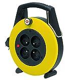 Brennenstuhl  Confort-Line Enrouleur à Usage Domestique 4 prises (IP20, 5 m de câble), Noir & Jaune, Fabrication Française