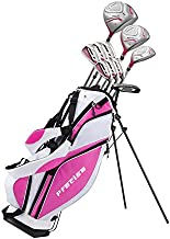 Precise Premium Ladies Womens Complete Golf Clubs Set Includes Driver, Fairway, Hybrid, S.S. 5-PW Irons, Putter, Stand Bag, 3 H/C's (Pink, Right Hand)