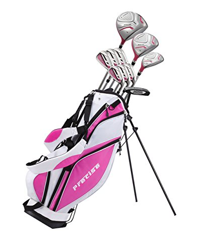 "Precise Premium Ladies Womens Complete Golf Clubs Set Includes Driver, Fairway, Hybrid, S.S. 5-PW Irons, Putter, Stand Bag, 3 H/C's (Pink, Right Hand Petite Size -1"")"