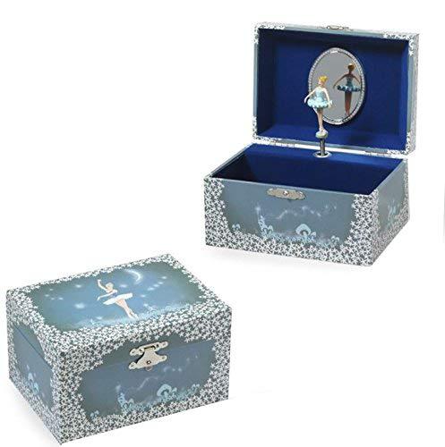 Kinder Schmuckkästchen mit Spieluhr Schmuckbox Musikspieldose Ballerina bleu - Melodie: Eine kleine Nachtmusik 32197