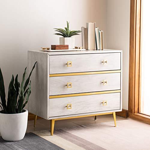 Safavieh Home Katia Modern White Wash and Gold 3-drawer Chest