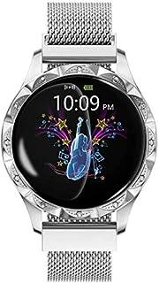 WJFQ Reloj Inteligente Inteligente Moda Mujer Fitness Actividad Tracker con pulsómetro del sueño Monitor de monitores de presión Arterial for Hombres Mujeres (Color : Silver Steel Belt)
