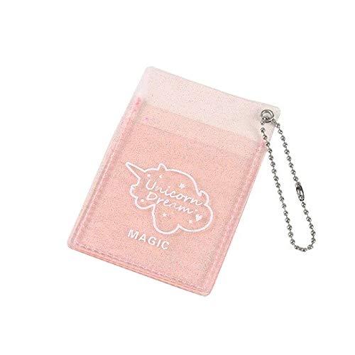 Gather together Bolso transparente con purpurina rosa para tarjetas de identificación, titular de tarjetas de visita, organizador de mujeres de viaje pasaporte de la cubierta de la cartera