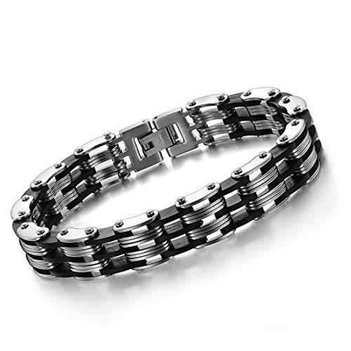 Adisaer Armband Silber Name Herren Armreifen Edelstahl Fahrradkette Motorradkette Herren Handgelenk Poliert Silber Schwarz 21Cm