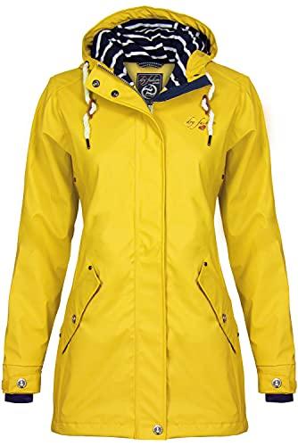 Dry Fashion Damen-Regenmantel Kiel Farbe gelb, Größe 46