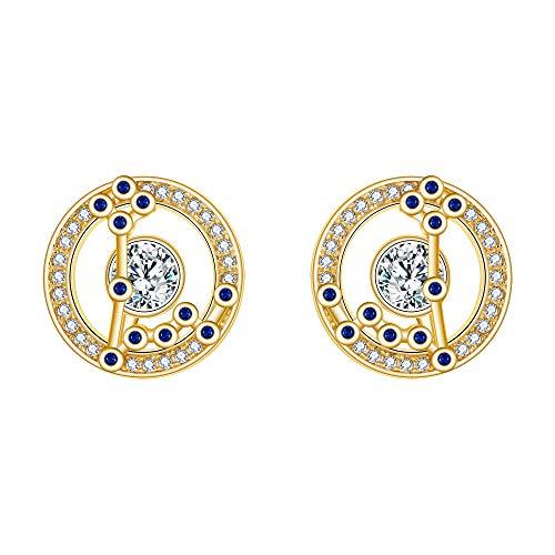 FANZE Mujer Plata de Ley 925 CZ Horscopo Zodiaco 12 Constelacin Stud Pendientes Oro Cumpleaos Regalo Astrologa Joya- Piscis
