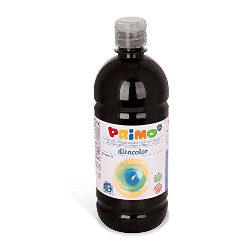 Primo Pintura para dedos para niños, pintura brillante para dedos | con tapón dosificador en botella de 750 ml (negro)
