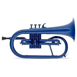 Classic Cantabile MardiBrass ABS Kunststoff Flügelhorn – Perinet-Ventile – 600g leicht – Bohrung: 11,5 mm – inkl. Mundstück und Leichtkoffer – blau