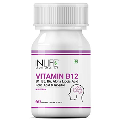 INLIFE Vitamin B12 1500 mcg with B1, B5, B6, Alpha Lipoic Acid ALA, Folic Acid, Inositol Supplements - 60 Tablets (Pack of 1)