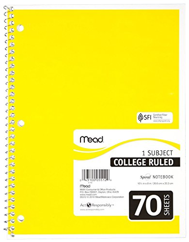Mead Notebook Spiral 10-1/2 In. X 8 In. 3 Hole Punch - Assorted Colors