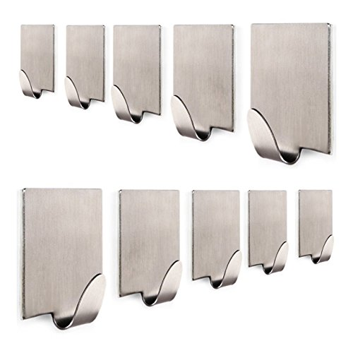 KONE Bathroom Self Adhesive Hook for Towel and Robe, Brushed Stainless Steel, 10 - Pieces