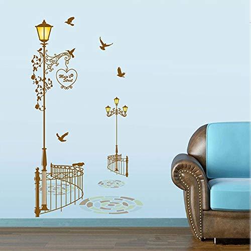 BLOUR Spedizione Gratuita Retro lampioni Pigeon Trail decorazione in vinile murale Decalcomania adesivi murali Carta da parati negozio di Carta da parati 95 * 160 cm Gratis