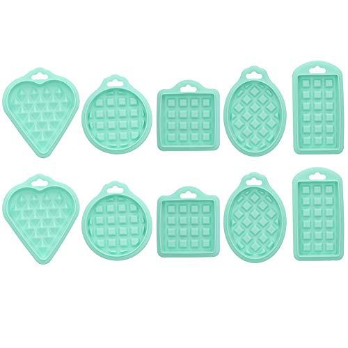 10 piezas de moldes de silicona para gofres en forma de corazón Mini gofrera para hornear suministros