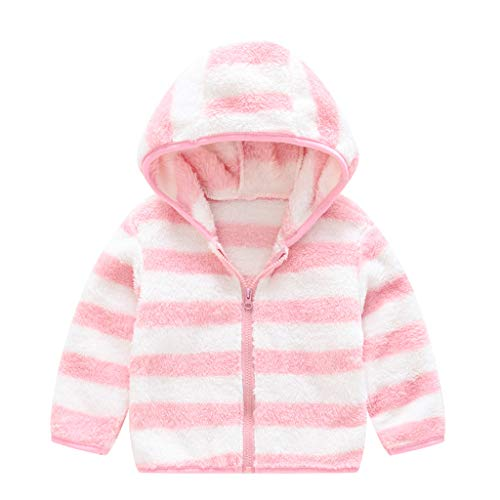Girl Coat Jacket Set, Toddler Kids Girls Boys Zipper Striped Thick Hooded Coat Warm Outwear, Clothes for Baby Kids (Pink 2-3 Years)