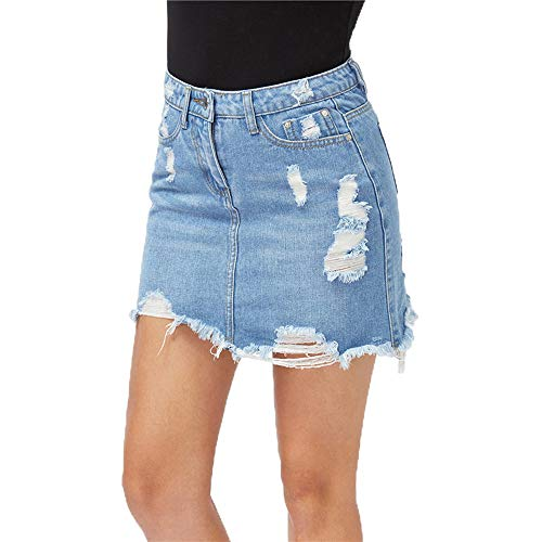 Keven Damen Denim Rock Hoch Lose A-Linie Kurz Skirt Einfarbig Taillierte Jeansrock (M, Blau) (XXL, Blau)