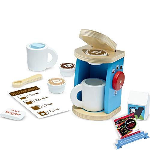 Melissa & Doug Wooden Brew & Serve Coffee Pretend Play Set Bundle with 1 Theme Compatible M&D Scratch Art Mini-Pad [98427]
