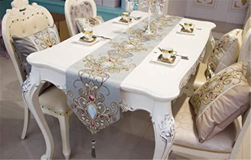 Coner moderne jacquard damast gebloemde tafellopers en dressoirsjaals met kwastjes, blauw, 33x160cm
