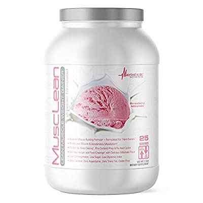 Metabolic Nutrition, Musclean, 100% Whey Protein Meal Replacement, Weight Gainer, High Protein, Low Carb, High Fat, Keto Diet Supplement, Digestive Enzymes, 24 Vitamins and Minerals, 5 Pound (50 ser)
