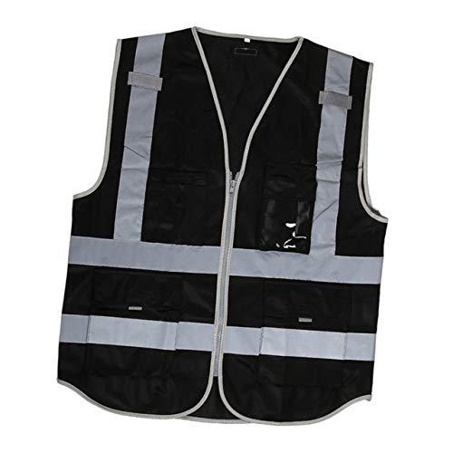 Warnweste Hohe Sichtbarkeit Reflektierende Sicherheitsweste mit Taschen Zipper Breathable Ineinander greifen Jacke Weste for den BAU Metro 112x67cm Persönlicher Schutz (Color : Black)
