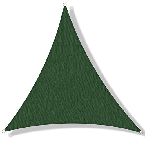 DEXIAO Toldo Vela de Sombra, Poliéster Toldo Vela Protección Rayos UV Impermeable Resistente para Patio jardín pérgola Patio Trasero (3×3×3m, Verde Oscuro)
