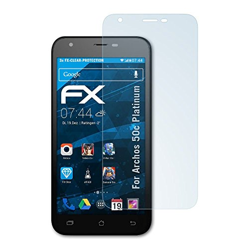 atFolix Schutzfolie kompatibel mit Archos 50c Platinum Folie, ultraklare FX Bildschirmschutzfolie (3X)