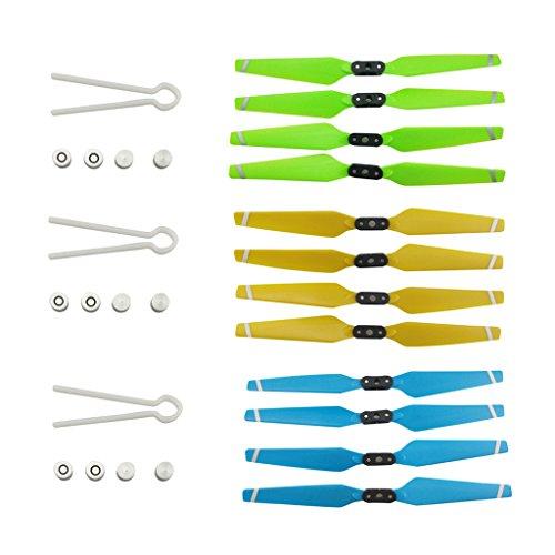 D DOLITY 12PCS Elica CW CCW per Hubsan H501C H501A H501S W H501S PRO MJX B2C B2W Bugs 2 RC Drone Ventole Pieghevoli - Green Blue Gold
