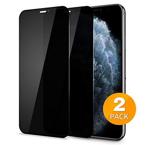 Tensea Privacy Screen Protector for Apple iPhone XS Max and iPhone 11 Pro Max 6.5 inch, 3D Full Coverage Anti-Spy Tempered Glass Film, Anti-Scratch, Case Friendly, Ultra Thin, HD Clear, 2 Pack