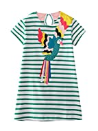 Material:This girls summer dress is made of cotton blend lace fabric, comfortable, soft, skin friendly to your kids. Design:Short sleeve, stripe design, round collar, animals cartoon printed,button-loop closure at back makes the dress easy to wear or...