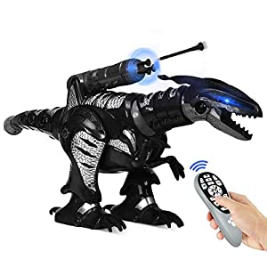 Costzon RC Robot Dinosaur, Kids Intelligent Interactive Toy, Electronic Remote Controller Dinosaur, Walking Dancing Singing w/ Fight Mode, Programmable Robot Gift for Children Boys and Girls (Black)
