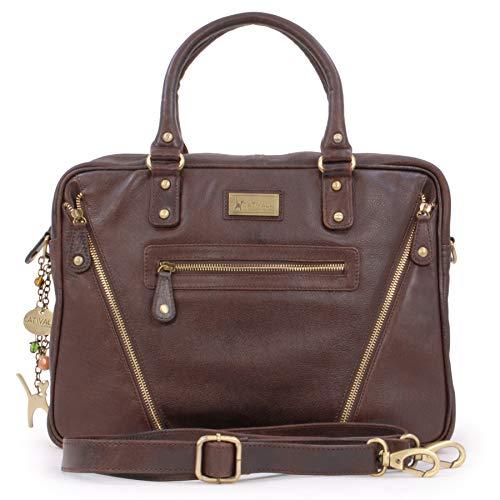Catwalk Collection Handbags - Ladies Vintage Leather Briefcase Cross Body Bag - Women's Organiser Work Bag - Tablet/Laptop Bag - SIENNA - Brown