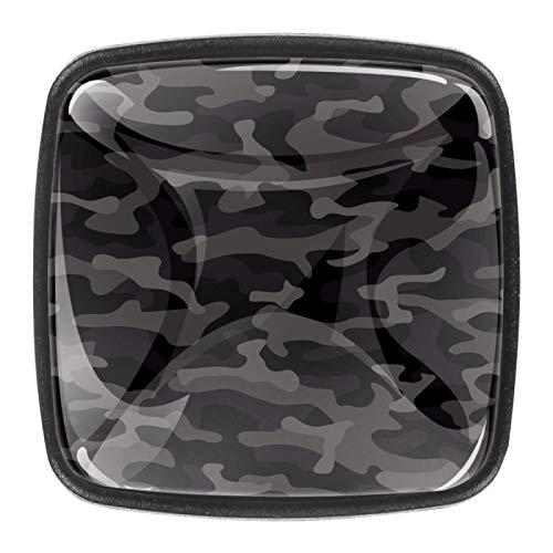 Pomo de cristal de camuflaje gris cuadrado para armario, con tornillos, 1.18 x 0.82 x 0.78 pulgadas para gabinete de oficina en casa (0.4 piezas)