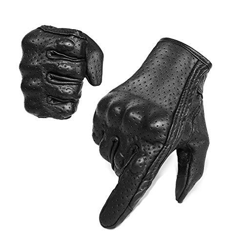Guantes de piel de cabra para hombre con pantalla táctil de dedo y nudillos protector de motor Racing guantes (perforados, XL)