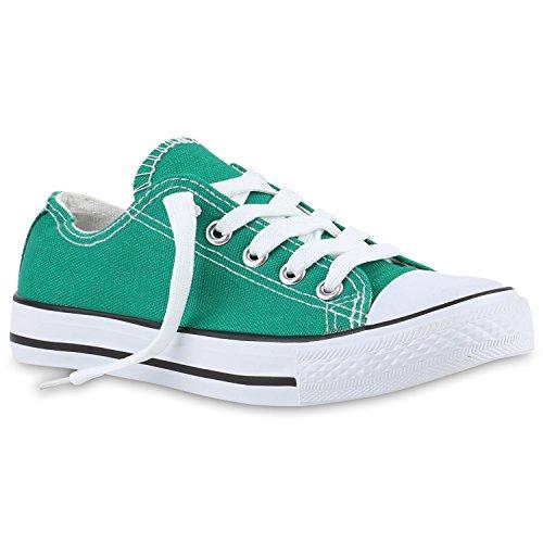 Stiefelparadies Kinder Sportschuhe Sneakers Turnschuhe Schnürschuhe 139984 Grün Grün 31 Flandell