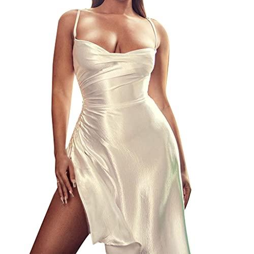 KIACIYA Vestito Y2K Aderente Donna Sexy Vestito Aderente Estivi A Pieghe Irregolare Senza Spalline Bodycon Mini Corti Fionda Natiche Ricche Elegante Casual Dress (white,L)
