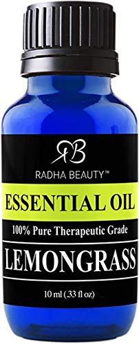 Radha Beauty - Lemongrass Essential Oil 10ml 100% Pure & Natural Therapeutic Grade Aromatherapy Oil for Diffuser, Soap, Bath Bombs, Candles.