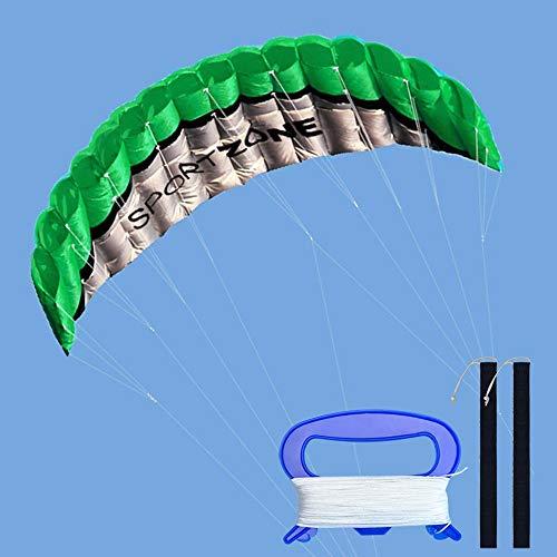 Kwasyo Force 2.5m Doppia Linea trovata Parafoil Aquilone con Lo spago e Il Manico da 30m,Sport Aquilone sulla Spiaggia,Gioco Divertente nel Parco e Giardino all' Aperto (Verde)