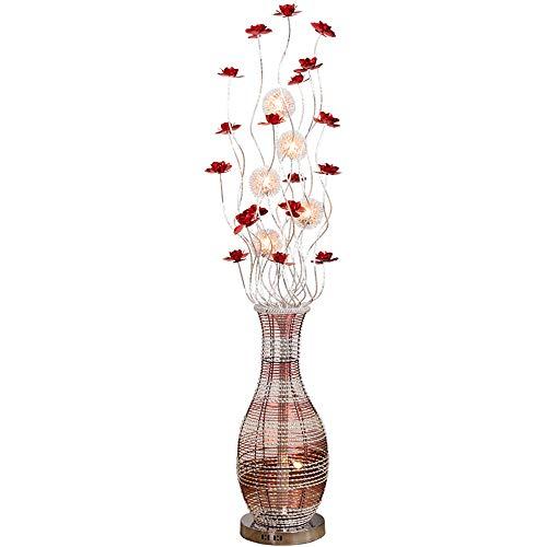 QHENS Stehlampe Schlafzimmer, Blütenform Standleuchte Dimmbar mit Fernbedienung Modern Nachttischlampe mit Fußschalter Augenschutz Energie Sparen für Wohnzimmer Schlafzimmer,Warm light