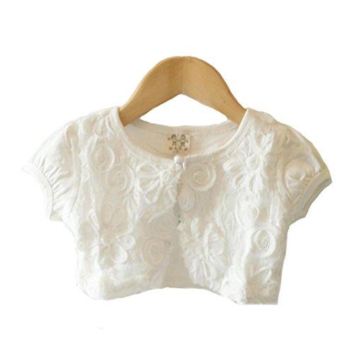 Honey baby ガールズ女の子 ボレロ カーディガン 半袖 子供 女の子 用 ホワイト ピンク 薄手 柔らか カーデ 女の子 フォーマルキッズ フォーマル ドレス 可愛い発表会 入園式 結婚式 パーティー(120cm, ホワイト)