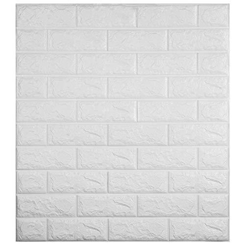 VEVOR 22 STK Wandpaneele Foam Fake Brick 50x50 cm Wand Ziegel PVC Wandaufkleber Selbstklebende Schaum Gefälschte 3D Wandaufkleber Wandpaneel für Home Deko(Weiß)