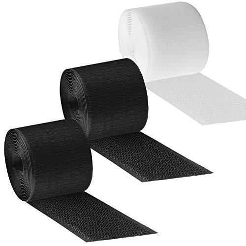 Senhai 3 Stück Wiederverwendbare Kabel-Abdeckung Kabelbinder für Kabel-Management, verhindert Stolper-Gefahren, schwarz und weiß