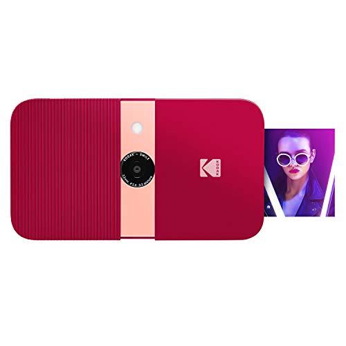 KODAK Smile Cámara digital de impresión instantánea, Cámara de 10MP que abre al deslizarse c/impresora 2x3 ZINK, Pantalla, Enfoque fijo, Flash automático y edición de fotos, Rojo