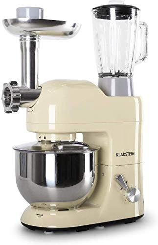 Klarstein Lucia Morena - robot da cucina, mixer, impastatrice, 1200 W, 5 L, sistema planetario, tritacarne, ganci per pasta, shaker da 1,5 L, velocità regolabile, panna