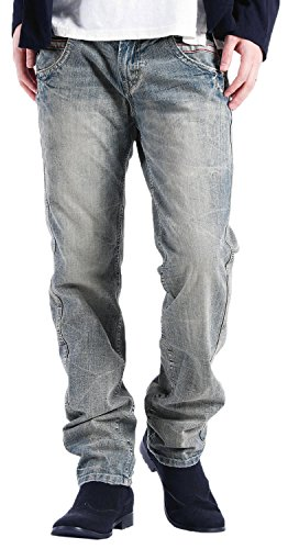 ワインレッドステッチ ストレートデニムパンツ ジーンズ メンズ Lサイズ ブリーチ